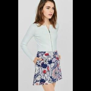 Express Geo Floral High Waisted A-line Skirt 00